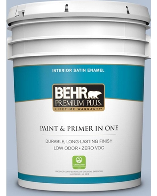 BEHR Premium Plus 5 gal. #590E-3 Hyacinth Tint Satin Enamel Low Odor Interior Paint and Primer in One
