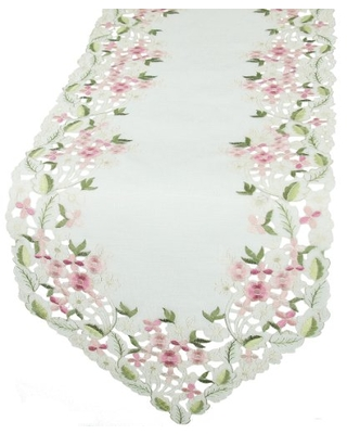 Xia Home Fashions Fairy Garden Sheer Embroidered Cutwork Spring Table Runner, 15 by 70-Inch