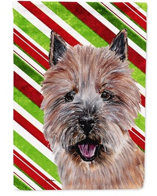 Norwich Terrier Candy Cane Christmas Flag Canvas House Size