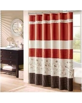 "Madison Park Serene 72x72"" Faux Silk Embroidered Floral Shower Curtain in Spice - Olliix MP70-2646"