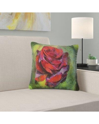 """East Urban Home Floral Rose Illustration Pillow FUSI5437 Size: 18"""" x 18"""" Product Type: Throw Pillow"""