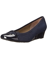 French Sole FS/NY Women's Diverse Wedge Pump, Navy Patent/Suede, 6.5 M US