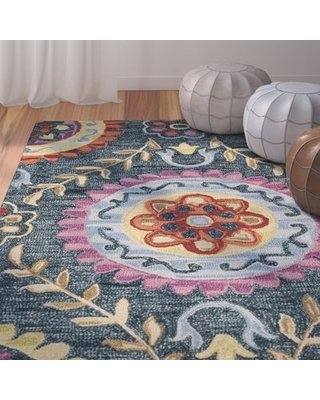 Discover Deals On Tomo Hand Hooked Wool Blue Yellow Area Rug Bungalow Rose Rug Size Rectangle 8 X 10