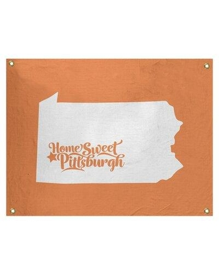 "East Urban Home Pittsburgh Pennsylvania Wall Tapestry - Indoor/Outdoor EBJB7033 Size: 26"" H x 36"" W Color: Orange"