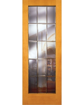 Feather River Doors Feather River Doors 30 In X 80 In 15 Lite Unfinished Pine Clear Bevel Brass Woodgrain Interior Door Slab Pine Ready To Stain