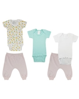 Bambini Mix N Match Short Sleeve Bodysuits & Joggers Outfit Sets, 5pc (Baby Boys or Baby Girls, Unisex)