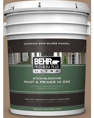 BEHR Premium Plus Ultra 5 gal. #700D-5 Toffee Crunch Semi-Gloss Enamel Exterior Paint and Primer in One