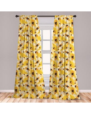 Get This Deal On East Urban Home Autumn Room Darkening Rod Pocket Curtain Panels Size Per Panel 28 X 84 Polyester In Yellow Gold Size 63 W X 56 D Wayfair
