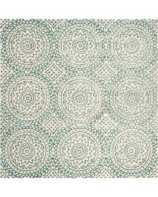 Ivory/Blue Floral Tufted Square Area Rug 5'X5' - Safavieh, White