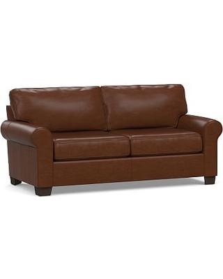 """Buchanan Roll Arm Leather Loveseat 79"""", Polyester Wrapped Cushions, Legacy Chocolate"""
