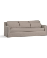 """York Square Arm Slipcovered Deep Seat Grand Sofa 94"""" with Bench Cushion, Down Blend Wrapped Cushions, Performance Everydayvelvet(TM) Carbon"""