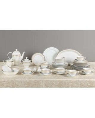 Gold Mix and Match 57 Piece New Bone China Dinnerware Set, Service for 8 Lorren Home Trends