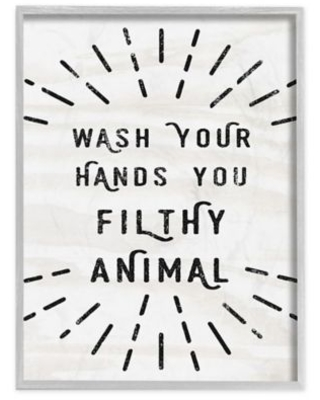 Wash Your Hands Filthy Animal 11-Inch x 14-Inch Framed Wall Art
