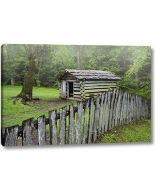 """Millwood Pines 'TN Great Smoky Mts Fence and Abandoned Cabin' Photographic Print on Wrapped Canvas BI152210 Size: 21"""" H x 32"""" W x 1.5"""" D"""