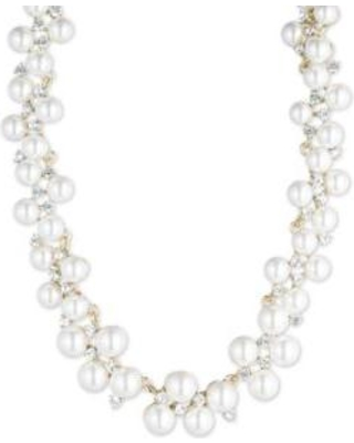Anne Klein White Gold Tone Anne Klein Pearl and Crystal Collar Necklace
