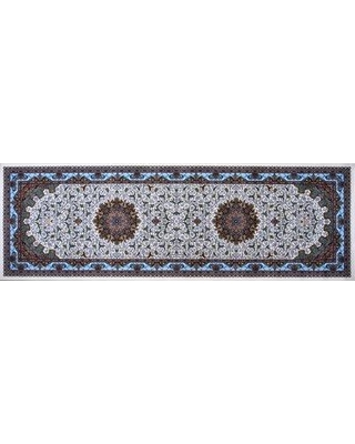New Deals On Astoria Grand Matta Hand Look Persian Wool Brown Blue Ivory Area Rug Wool Polyester In Blue Ivory Cream Size 120 H X 39 W X 1 D Wayfair