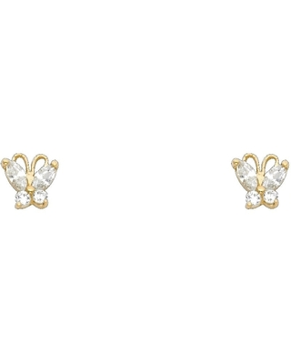 Curata 14k Yellow Gold Butterfly Angel Wings Marquise CZ Cubic Zirconia Simulated Diamond Screw Stud Earrings Jewelry Gifts for