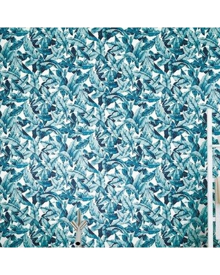 """Bungalow Rose Lybarger Palm 20.5' L x 16.5"""" W Peel and Stick Wallpaper Roll W000646565 Color: Blue"""