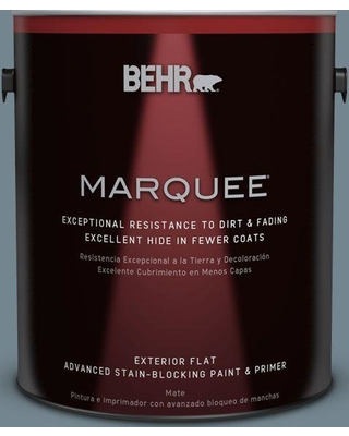 BEHR MARQUEE 1 gal. #N480-5 Adirondack Blue Flat Exterior Paint and Primer in One