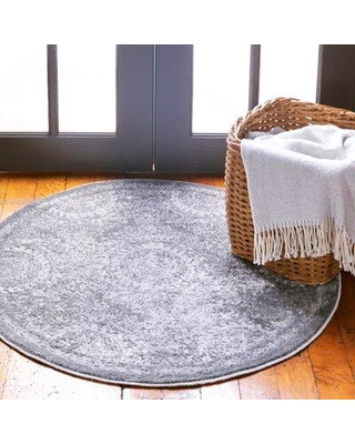 """World Menagerie Mathes Gray Area Rug W001583621 Rug Size: Round 3'3"""" x 3'3"""""""