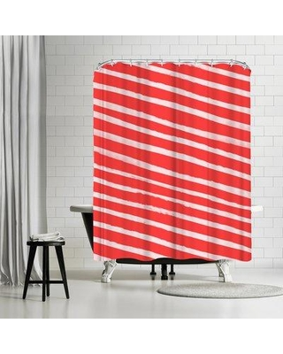 East Urban Home Leah Flores Candy Cane Stripes Single Shower Curtain ETRC8104