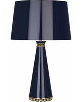 Pearl Midnight Blue and Brass Table Lamp with Blue Shade