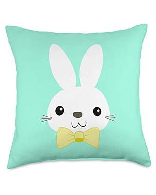 Savings On Easter Egg Bunny Vibes Easter Bunny Face With Yellow Bow Tie Pascha Humor Holiday Throw Pillow 18x18 Multicolor