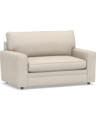 Pearce Square Arm Upholstered Twin Sleeper Sofa, Polyester Wrapped Cushions, Performance Brushed Basketweave Oatmeal