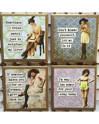 Coasters! Funny sarcastic ladies coasters with gold trim