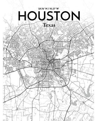 """OurPoster.com 'Houston City Map' Graphic Art Print Poster in Tones OP-IAH Size: 20"""" H x 16"""" W"""