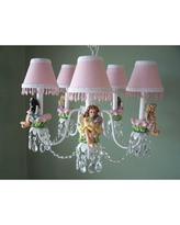 """Silly Bear Lighting My Fairy Princess 5-Light Shaded Classic/Traditional Chandelier, Metal in White, Size 15""""H X 18""""W 