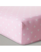 Fitted Crib Sheet Hearts - Cloud Island - Pink