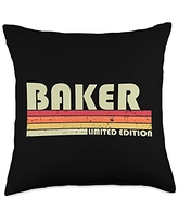 Customized Last Name Gifts Family Christmas Team BAKER Surname Funny Retro Vintage 80s 90s Birthday Reunion Throw Pillow, 18x18, Multicolor