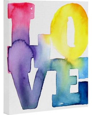 "Deny Designs 'Love 4' Wrapped Canvas Typography on Canvas 15905-artca Size: 20"" H x 16"" W x 1"" D"