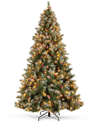 Best Choice Products 7.5ft Pre-Lit Pre-Decorated Holiday Christmas Tree w/ 1,398 Flocked Tips, 550 Lights, Base - 7.5ft
