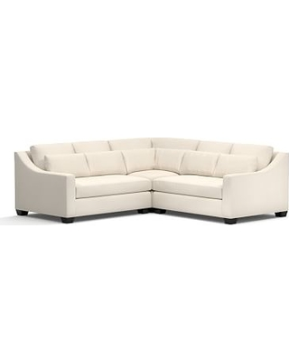 York Slope Arm Upholstered Deep Seat 3-Piece L-Shaped Corner Sectional, Down Blend Wrapped Cushions, Twill Cream