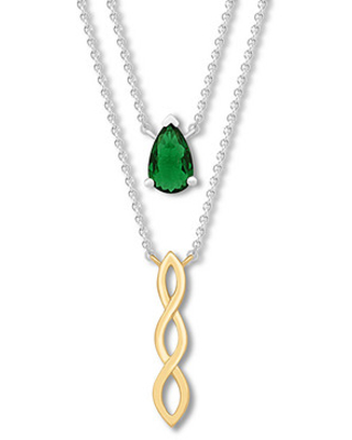 Lab-Created Emerald Layered Necklace Sterling Silver/10K Gold