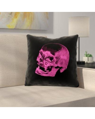 "East Urban Home Double Sided Print Square Skull Throw Pillow URBR7177 Size: 16"" x 16"" Color: Pink/Black"