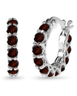 Glitzy Rocks Small Round Genuine, Created or Imitation Gemstone Huggie 18mm Hoop Earrings in Sterling Silver (2.5 to 3 Carats - January - Brown -