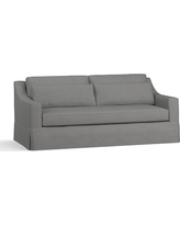 "York Slope Arm Slipcovered Deep Seat Sofa 80"" with Bench Cushion, Down Blend Wrapped Cushions, Basketweave Slub Charcoal"