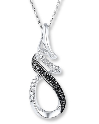 Diamond Necklace 1/20 ct tw Black/White Sterling Silver