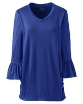 Women's Supima Micro Modal Maternity Rounded V-neck Top - Lands' End - Blue - XL