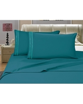 1500 Series 4-Piece Turquoise Triple Marrow Embroidered Pillowcases Microfiber Full Size Bed Sheet Set, Blues