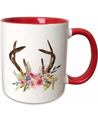 Symple Stuff Shefford Watercolor and Floral Antlers Coffee Mug W001217645 Color: Red