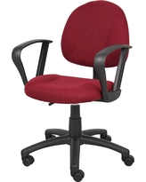 Deluxe Posture Chair with Loop Arms Burgundy (Red) - Boss Office Products