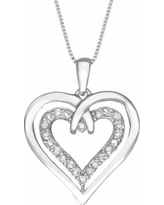 Two Hearts Forever One Sterling Silver 1/4-ct. T.W. Diamond Heart Pendant, Women's, White