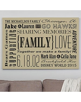 Our Family 28x42 Personalized Family Canvas Print