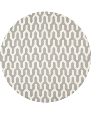 Safavieh Dhurries Silver/Ivory 7 ft. x 7 ft. Round Area Rug