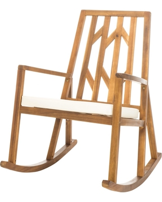 Nuna Acacia Wood Rocking Chair With Cushion   White   Christopher Knight  Home, Ivory