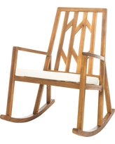 Nuna Acacia Wood Rocking Chair With Cushion - White - Christopher Knight Home
